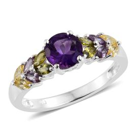 Amethyst (Rnd), Simulated Amethyst, Simulated Citrine and  Hebei Peridot Ring in Sterling Silver