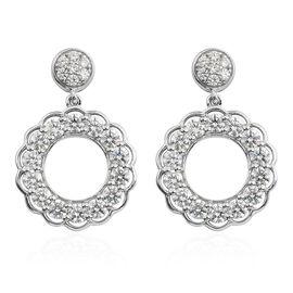 Swarovski Zirconia (0.83 Ct) Platinum Overlay Sterling Silver Earring  0.830  Ct.