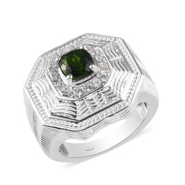 Russian Diopside and Natural Cambodian Zircon Ring in Platinum Overlay Sterling Silver 1.50 Ct, Silv