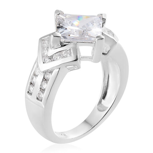 ELANZA Simulated Diamond (Sqr) Ring in Sterling Silver