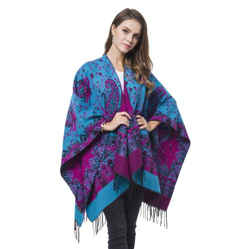 Designer Inspired-Blue, Red and Black Colour Paisley Pattern Reversible Blanket Shawl with Tassels (Size 127X75 Cm)