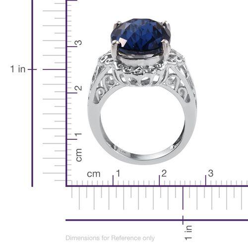 Checkerboard Cut Ceylon Colour Quartz (Ovl) Ring in Platinum Overlay Sterling Silver 13.250 Ct.
