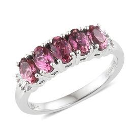 RHAPSODY 950 Platinum Pink Tourmaline (Ovl 1.05 Ct) Diamond Five Stone Ring 1.100 Ct.