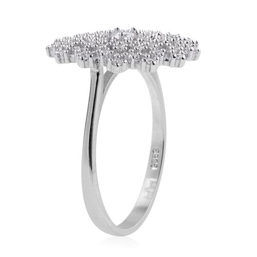 ELANZA Simulated Diamond (Rnd) Snowflake Ring in Rhodium Overlay Sterling Silver