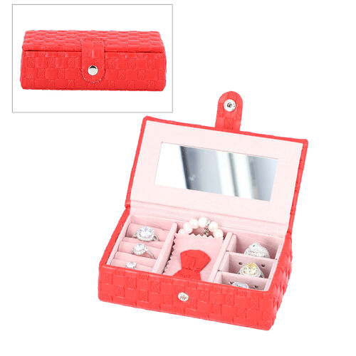 Red Woven Pattern Jewellery Box with Mirror and Button Clasp Lock (14x8x4.2cm)