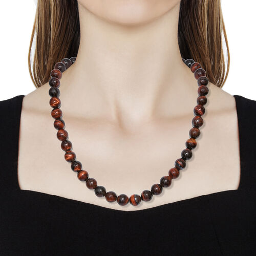 One Time Epic Deal- Rare Size Red Tiger Eye (Rnd 10mm) Bead Necklace (Size 18) in Rhodium Plated Sterling Silver 320.000 Ct.