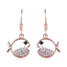 Boi Ploi Black Spinel and Natural Cambodian Zircon Fish Hook Earrings in Rose Gold Overlay Sterling