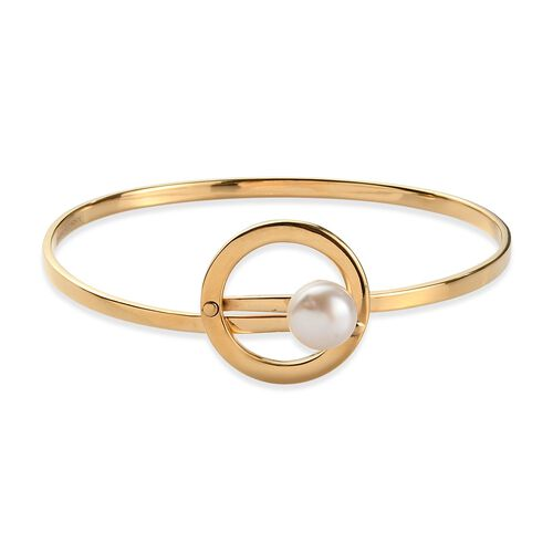 Sundays Child - Freshwater Pearl Bangle (Size 7.5) in 14K Gold Overlay Sterling Silver Silver Wt 15.
