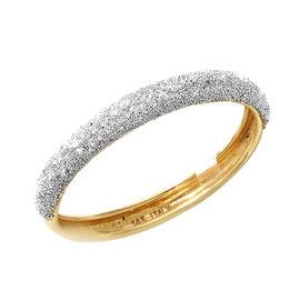 Italian Made 9K Yellow Gold Simulated Diamond Spritz Band Ring