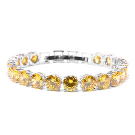 Simulated Yellow Sapphire Bracelet (Size 8 with Extender) in Silver Tone