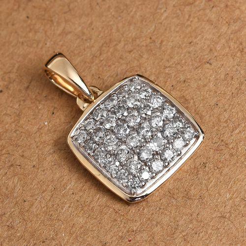 9K Yellow Gold Diamond Cluster Pendant 0.50 Ct.
