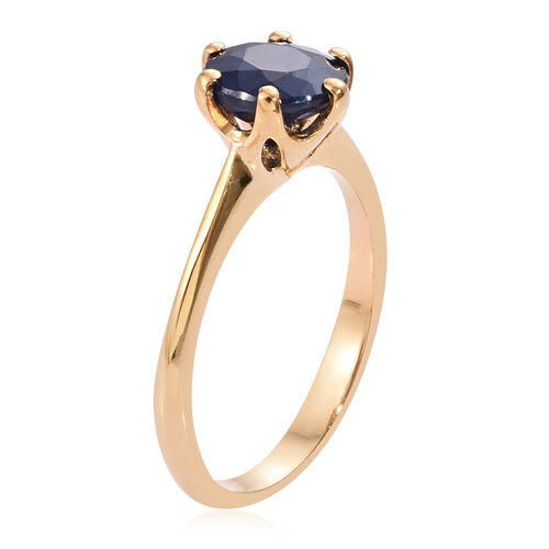 Diffused Blue Sapphire (2.00 Ct) 14K Gold Overlay Sterling Silver Ring  1.750  Ct.