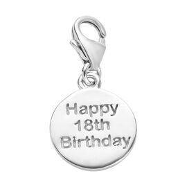 Happy 18 Birthday Charm in Platinum Overlay Sterling Silver