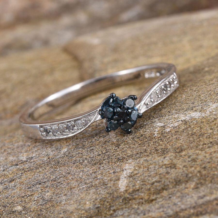Blue Diamond Platinum: Blue Diamond (Rnd), White Diamond Floral Ring In Platinum
