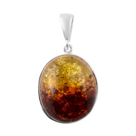 Baltic Amber Solitaire Pendant in Sterling Silver