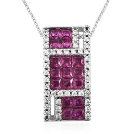 Lustro Stella - Simulated Ruby and Simulated Diamond Pendant with Chain (Size 18) in Platinum Overla