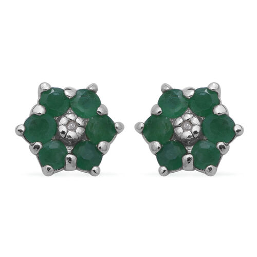Kagem Zambian Emerald and Diamond Floral Stud Earrings in Rhodium Overlay Sterling Silver 1.00 Ct.