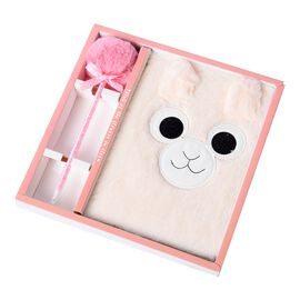 2 Piece Set - Fluffy Monkey Cover Notebook with Pom-Pom Blue Ink Pen - Pink & White