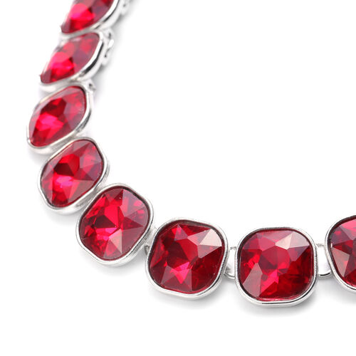 2 Piece Set - Simulated Ruby Necklace (Size 20) and Earrings (with Push Back) in Yellow Gold Tone