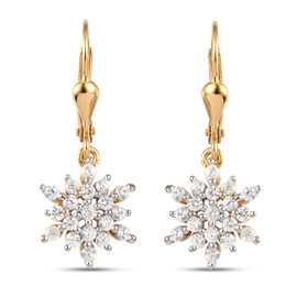 Natural Cambodian Zircon Lever Back Earrings in Yellow Gold Overlay Sterling Silver 1.140 Ct.