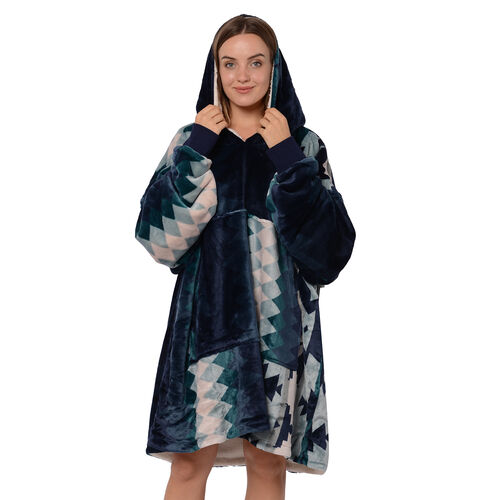 Tribal Pattern Flannel Blanket Hooded Sweatshirt (Size 85x90cm) with Long Sleeves - Navy, Green and