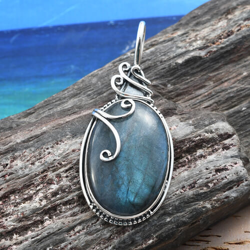 One Time Deal - Artisan Crafted Rare Big Size Pauls Island Labradorite (Ovl) Pendant in Sterling Silver 35.630 Ct,