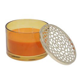 Luxurious Decorative Citronella Aromatic Candle in Glass Container (Size 15x11 Cm) - Orange