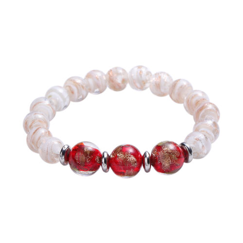 3 Piece Set - Red and White Murano Beads Hook Earrings, Necklace(Size 23 with Extender) and Bracelet (Size 6.5-7) in Stianless Steel