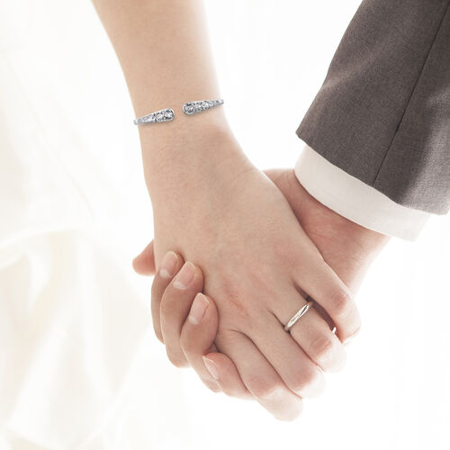 J Francis - Crystal from Swarovski White Crystal (Rnd), Open Bangle (Size 7.5) in Platinum Plated
