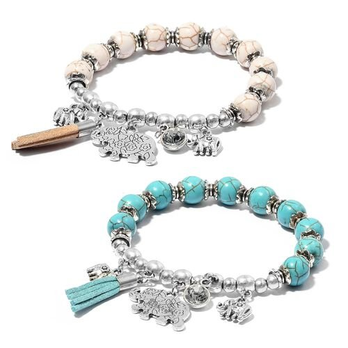 Set of 2- Blue Howlite (Rnd), White Howlite and White  Austrian Crystal  Bracelet with Elephant Charm 161.000  Ct.