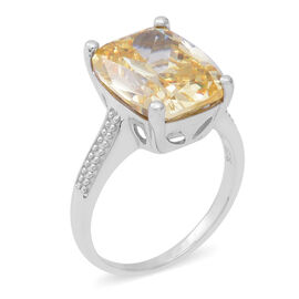 ELANZA Swiss Star Yellow Cubic Zirconia Solitaire Ring in Rhodium Plated Silver