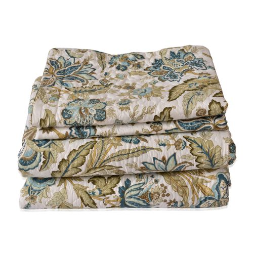 Olive Green, Blue and Multi Colour Floral and Leaves Pattern Microfiber Reversible Quilt (Size 260X240 Cm) and 2 Pillow Shams (Size 70X50 Cm)