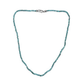 Paraibe Apatite (Rnd) Necklace (Size 18) with Lobster Lock in Rhodium Overlay Sterling Silver 35.000