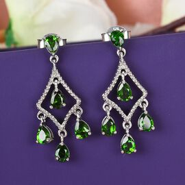 Russian Diopside Earrings (with Push Back) in Platinum Overlay Sterling Silver 1.88 Ct.