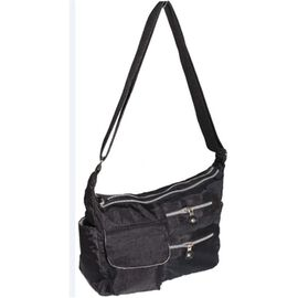 Close Out Deal- Water Resistant Multi Pocket Cross Body Bag - Black ( 34x22x12 Cms)