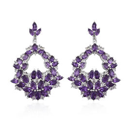 GP Amethyst (Mrq), Natural Cambodian Zircon and Kanchanaburi Blue Sapphire Earrings (with Push Back) in Platinum Overlay Sterling Silver 8.750 Ct, Silver wt 9.76 Gms, Number of Gemstone 136.