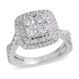 New York Close Out- 14K White Gold Diamond (Rnd) (I2 /G-H) Ring 1.570 Ct, Gold wt 6.00 Gms.