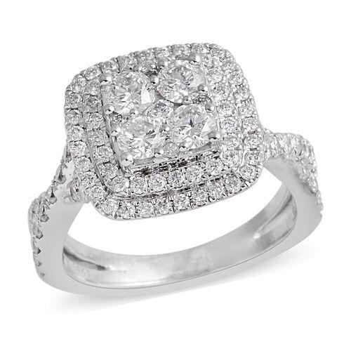 New York Close Out- 14K White Gold Diamond (Rnd) (I2 /G-H) Ring 1.570 Ct, Gold wt 6.00 Gms.