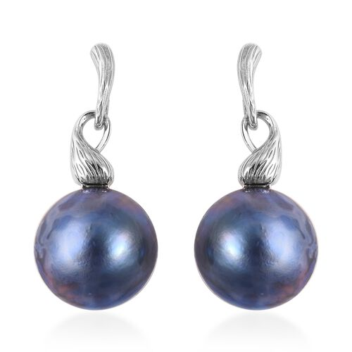 Mabe Blue Pearl Drop Earrings in Rhodium Plated Silver 6 Grams
