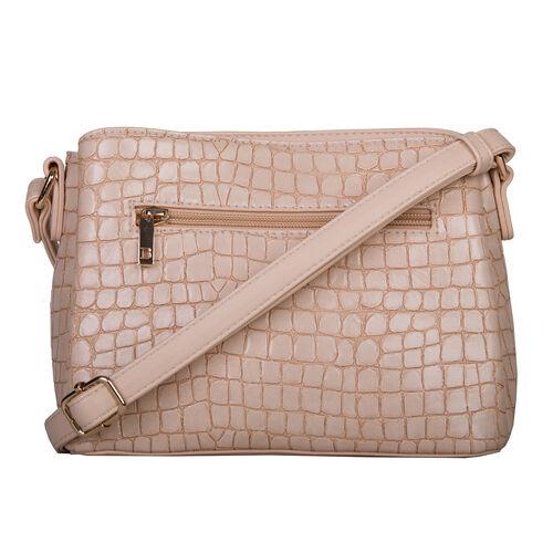Bulaggi Collection - Ginger Crossbody Bag with Crocodile Texture and Adjustable Shoulder Strap (31x14x22cm) - Bone Colour