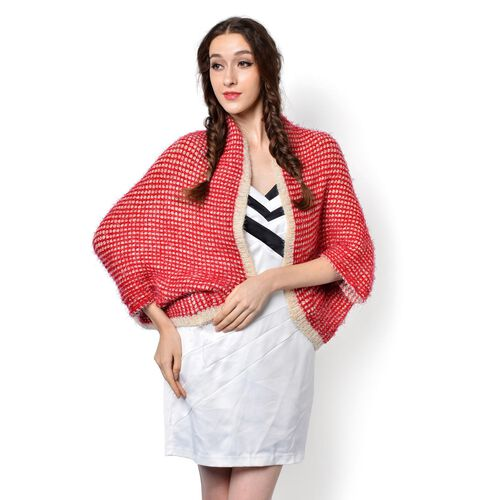 Red and White Colour Knitted Poncho (Free Size)
