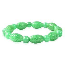 Doorbuster Deal - Carved Green Jade Stretchable Beads Bracelet (Size 7) 133.50 Ct.