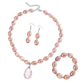 3 Piece Set - Simulated Morganite Necklace (Size 21 with 2.5 inch Extender), Hook Earrings and Stretchable Bracelet (Size 7) in Silver Plated