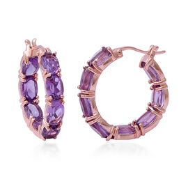 Rose De France Amethyst (Ovl) Inside-Out Hoop Earrings (with Clasp) in Rose Gold Overlay Sterling Si