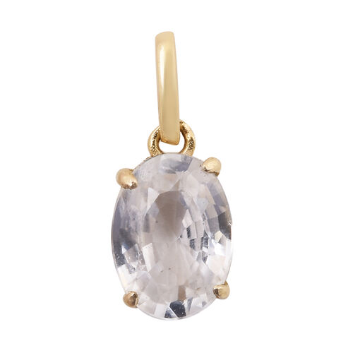One Time Mega Deal- 9K Yellow Gold Natural White Cambodian Zircon (Ovl 8x6 ) Pendant 1.250 Ct.