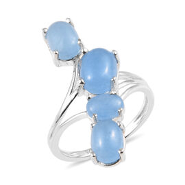 4 Ct Light Blue Jade Bypass Ring in Sterling Silver