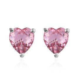 J Francis - Crystal from Swarovski Light Rose Crystal (Rnd) Heart Stud Earrings (with Push Back) in