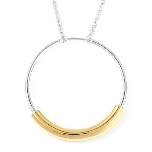 RACHEL GALLEY Cerchio Circle Necklace in Bi Colour Rhodium and Gold Plated Silver 14.31 Grams
