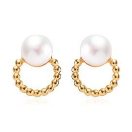Freshwater Pearl (Rnd) Earrings (with Push Back) in 14K Gold Overlay Sterling Silver