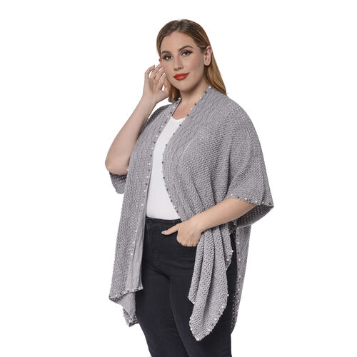 Solid Grey Colour Ruana Shawl with Pearl Trim (One size fits all; 98x80cm)